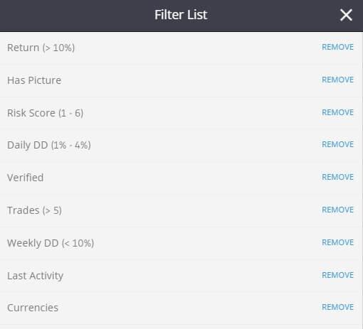 etoro trader filter list