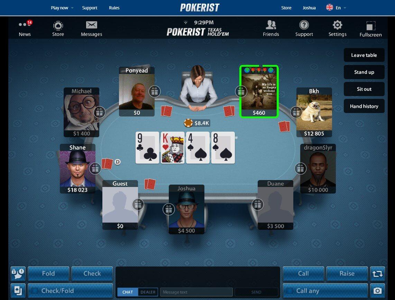 pokerist joshua interface