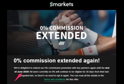 Smarkets 0% Commission Extended to June 2020