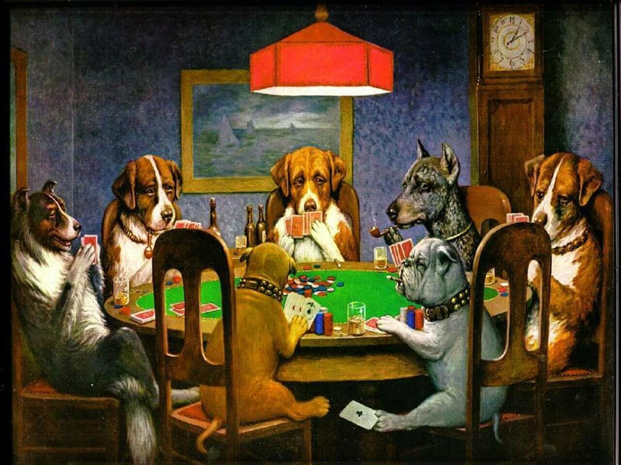 poker dogs cheating image
