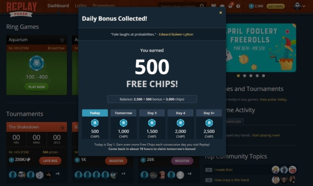 replay poker interface