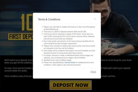 sportsbetting poker welcome bonus t & c