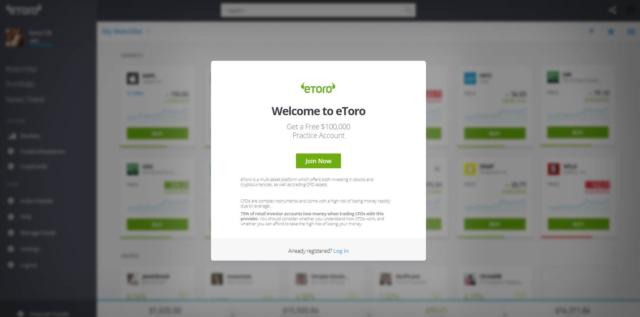 eToro practice account image