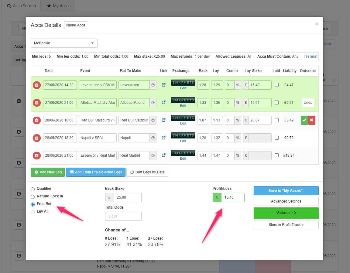 profit accumulator acca catcher free bet mode screenshot