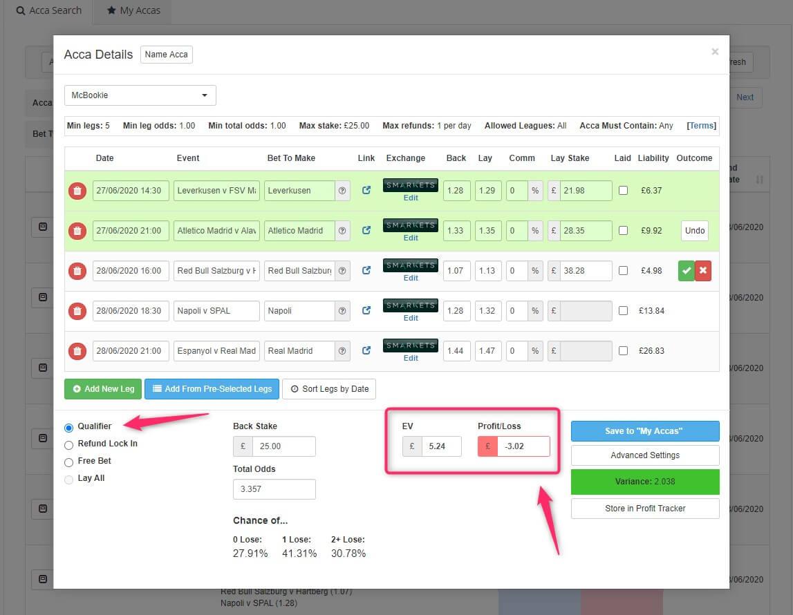profit accumulator acca catcher qualifier mode screenshot