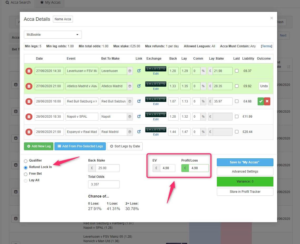 profit accumulator acca catcher refund lock in mode screenshot