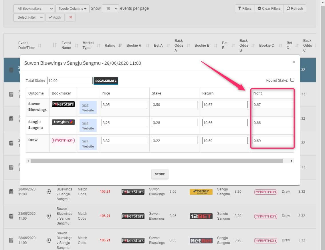 profit accumulator screenshot dutching software