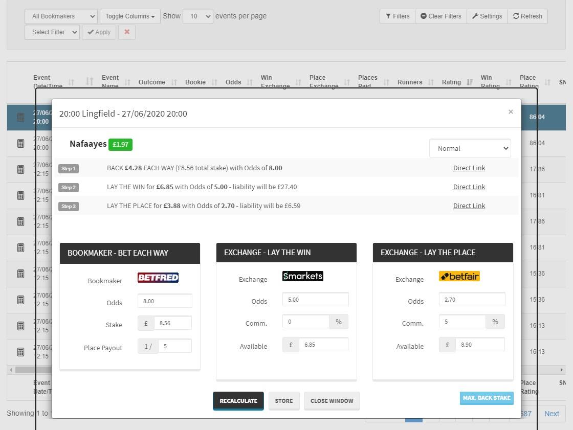 profit accumulator screenshot each way matcher