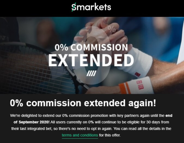 smarkets 0% commission extended to sept 2020
