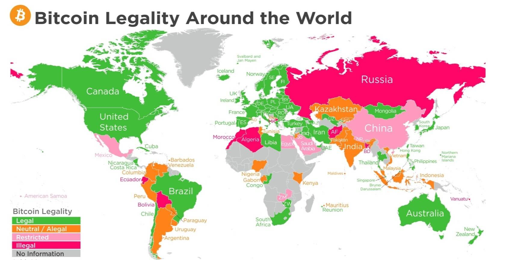 Bitcoin legality by country