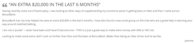 Bonusbank testimonial