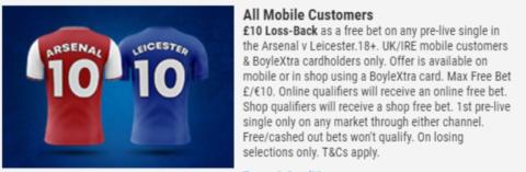 boylesports risk free arsenal offer