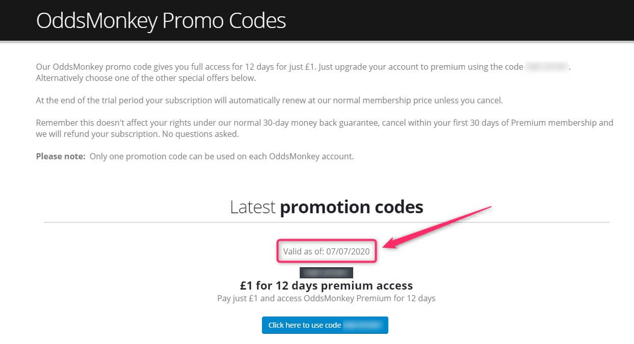 oddsmonkey £1 trial promotion codes