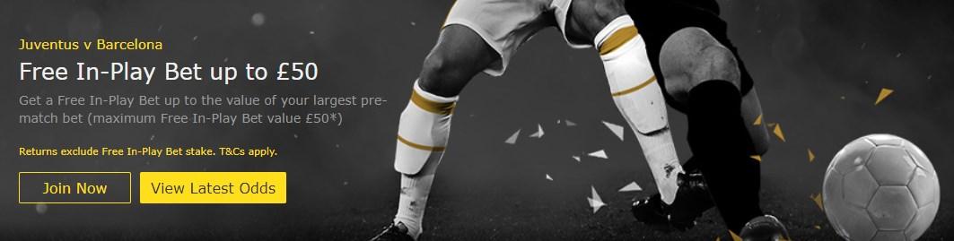 bet365 inplay free bet offer juventus vs barcelona