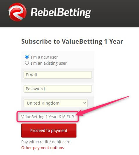 rebelbetting value betting one year subscription