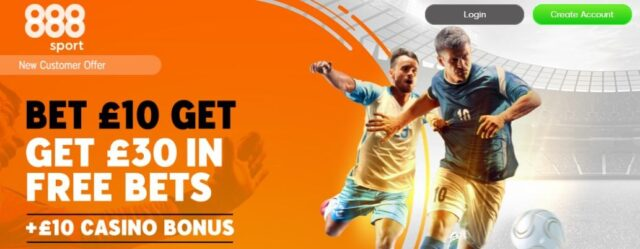 888 sports welcome offer bet £10 get £30 free bet