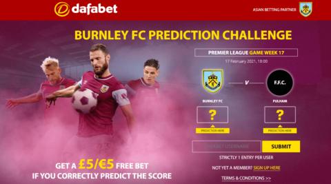 dafabet burnley free prediction offer