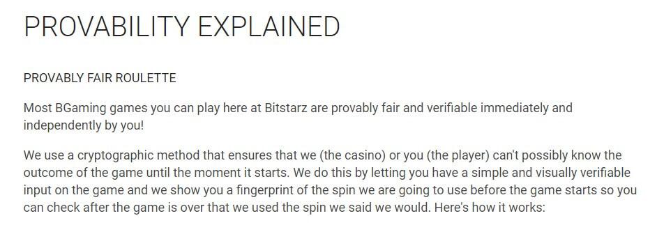 bitstarz provably fair process