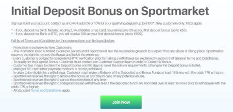 sportmarket deposit bonus