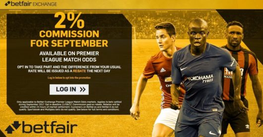 Bet Exchange Betfair EPL 2% Commission