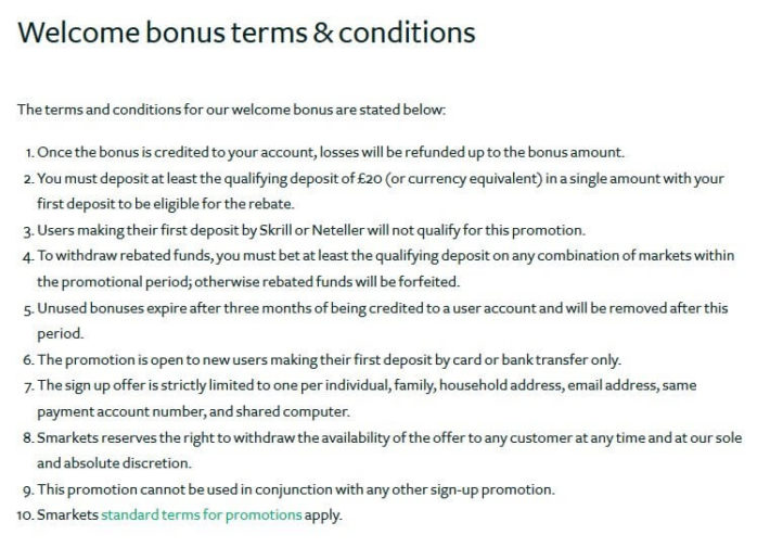 Bet Exchange SMarkets Bonus T&C