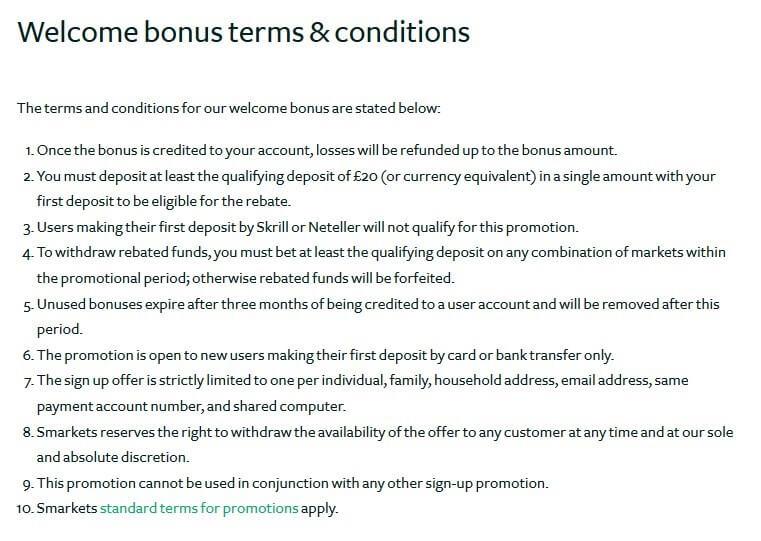 Bet Exchange SMarkets Bonus T&C