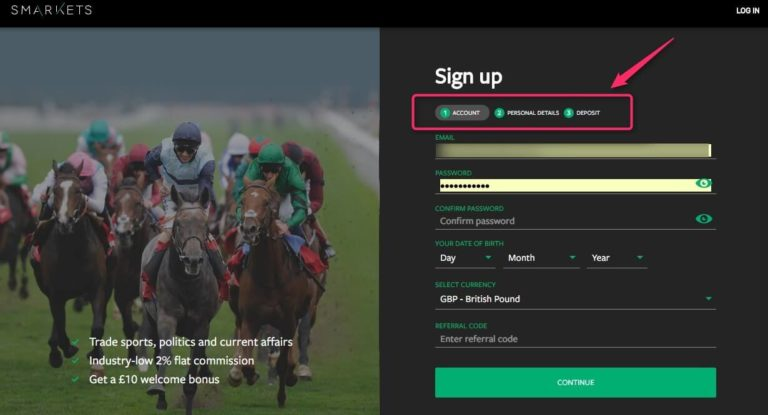 Bet Exchange SMarkets Signup Account Page
