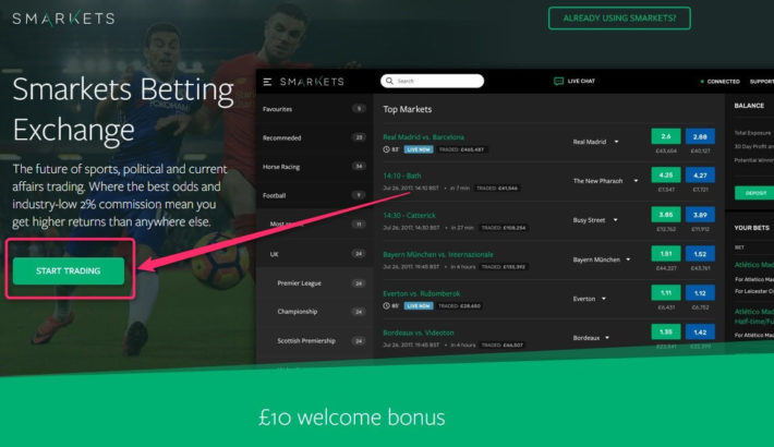 Bet Exchange SMarkets Signup Front Page